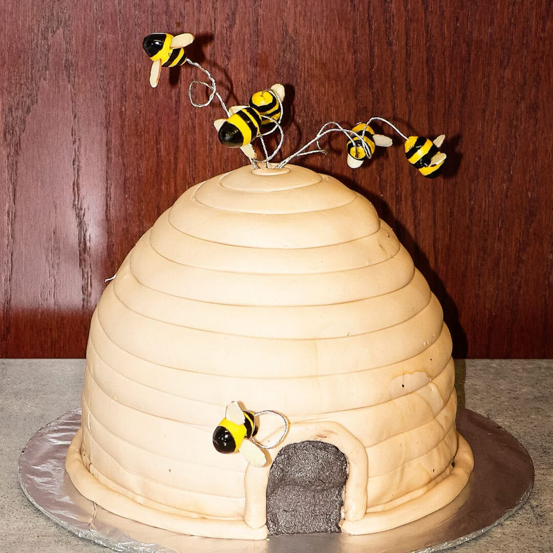 beehive carved cake