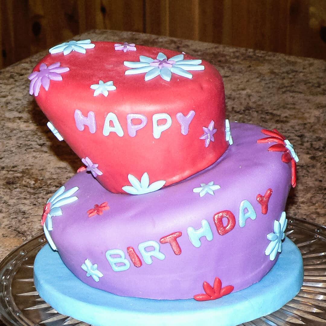 birthday topsy turvy cake