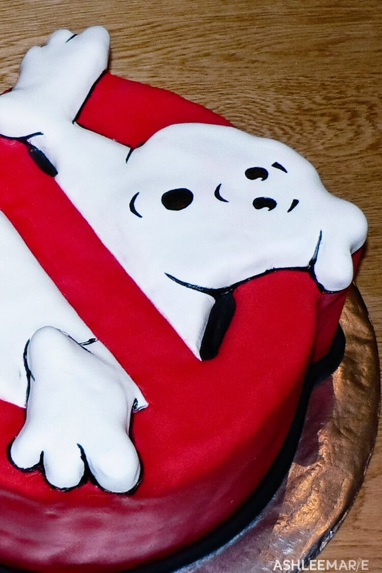 carved ghost busters cake