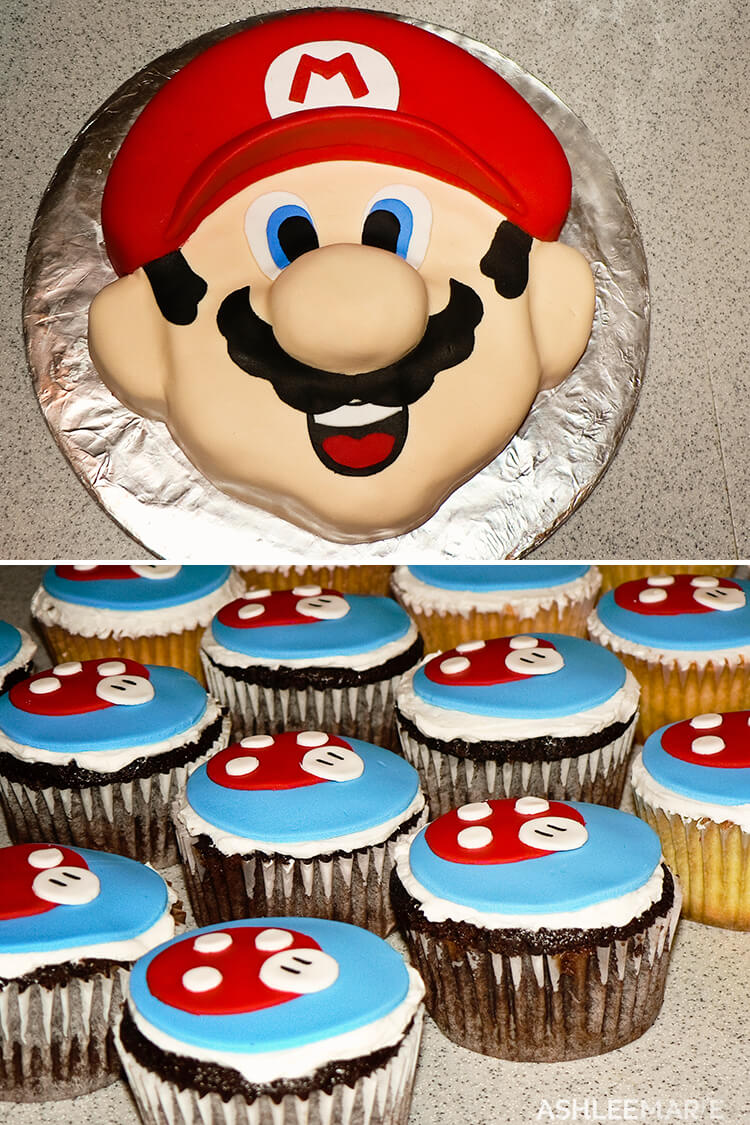 carved mario head cake