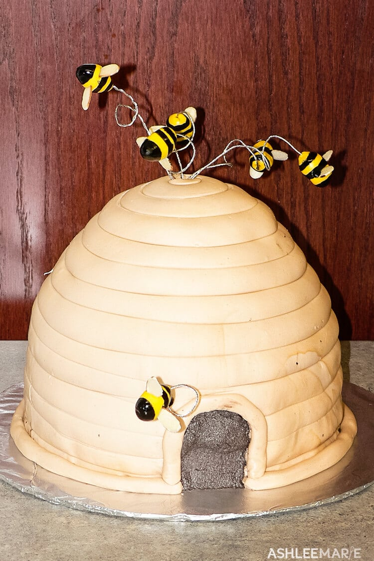 fondant beehive cake with bees