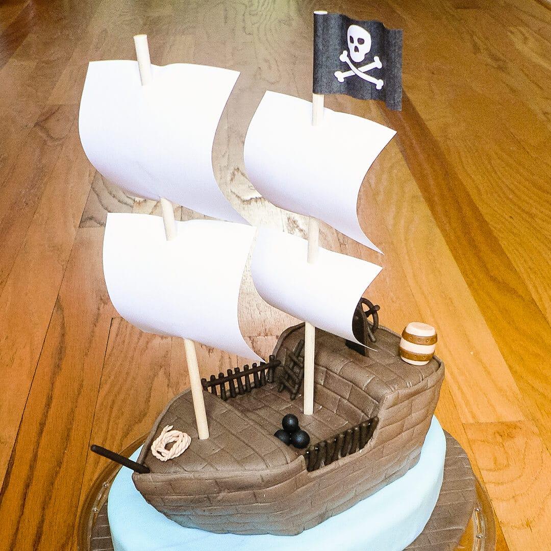 pirate ship carved cake