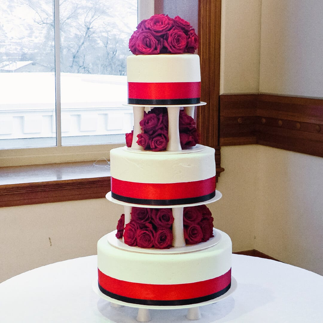 super tall red roses wedding cake