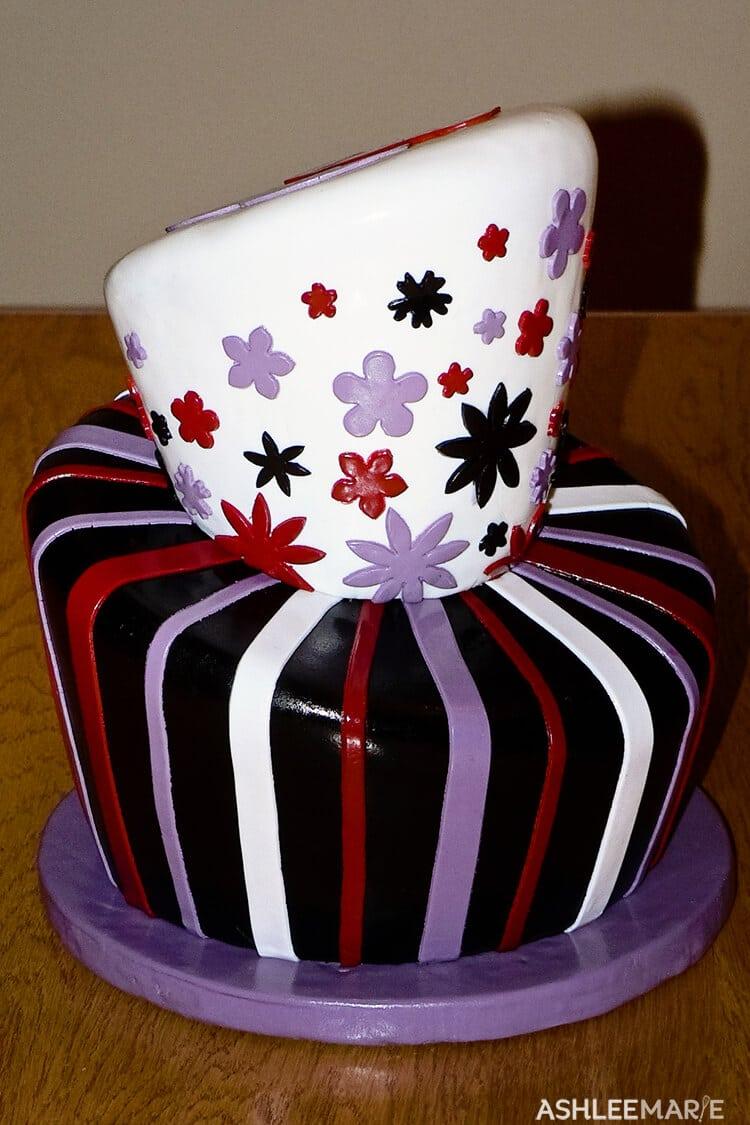 topsy turvy striped cake