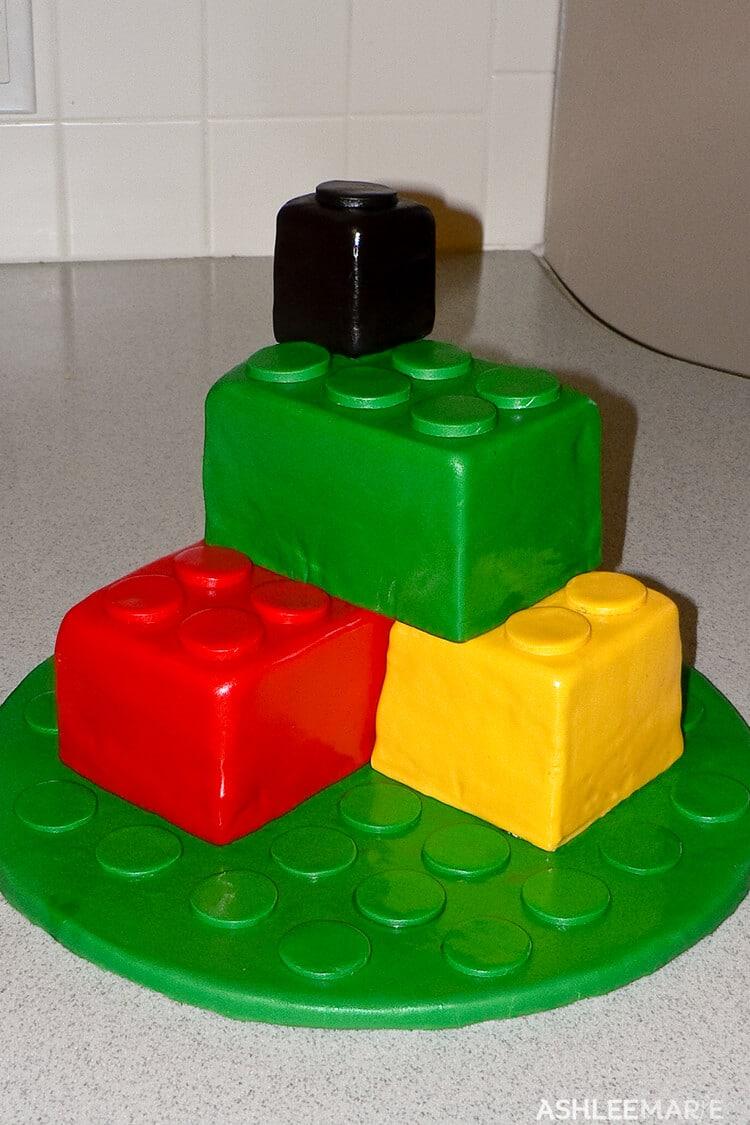 fondant lego stacked cake