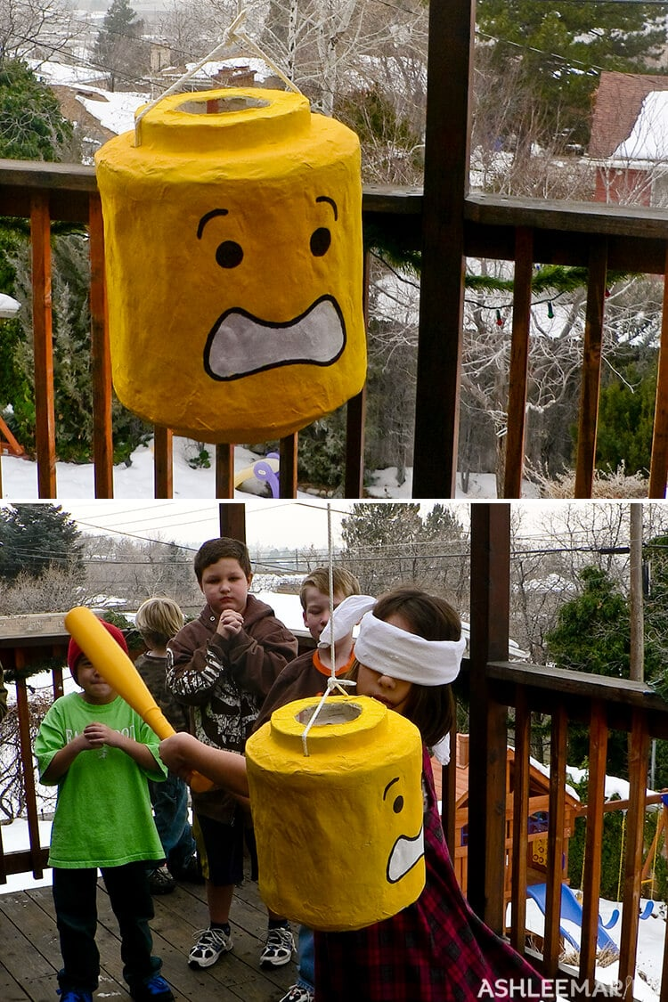 lego head pinata finished