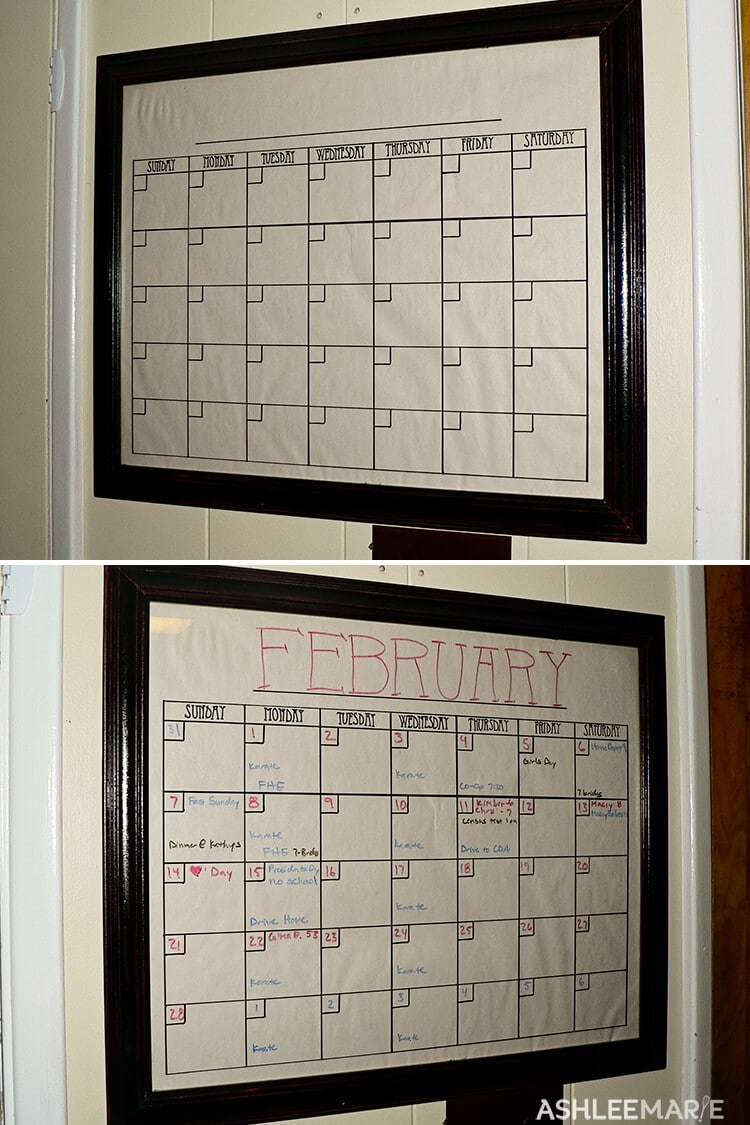 glass picture frame calendar