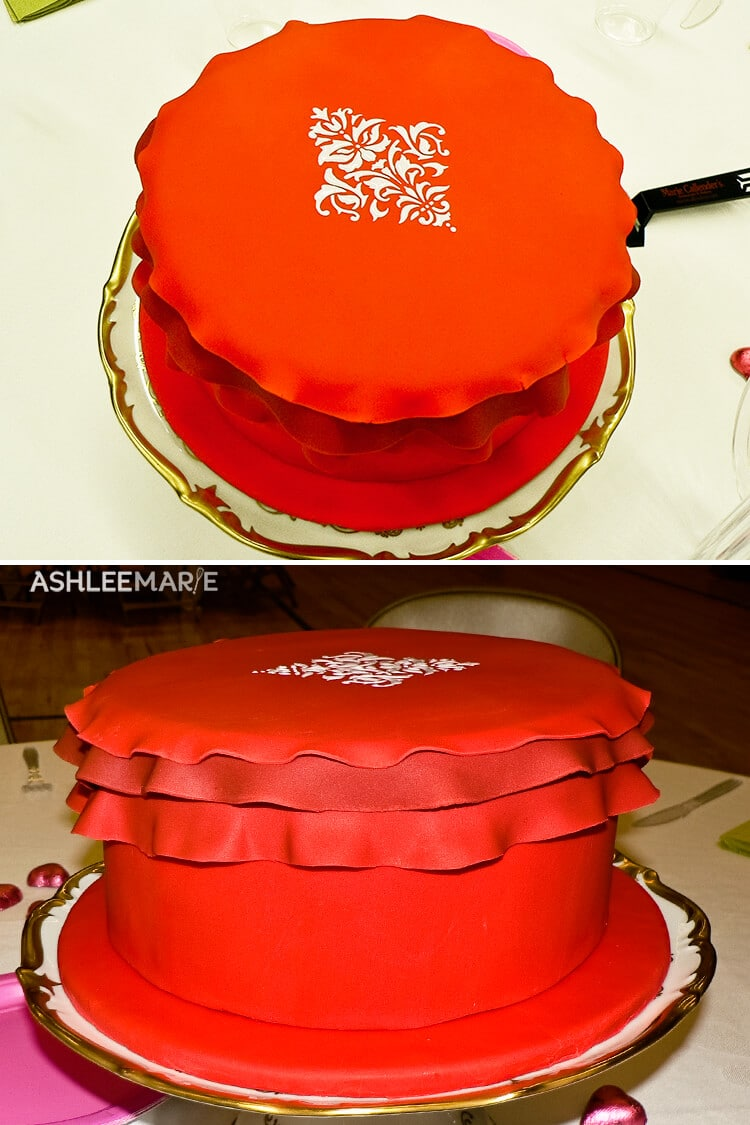 royal icing stencil red ruffled fondant cake