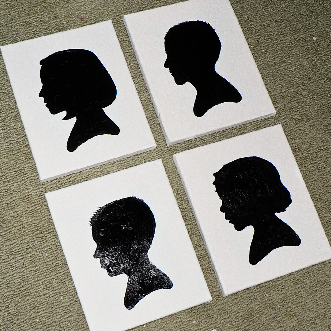 kids silhouette canvas art project