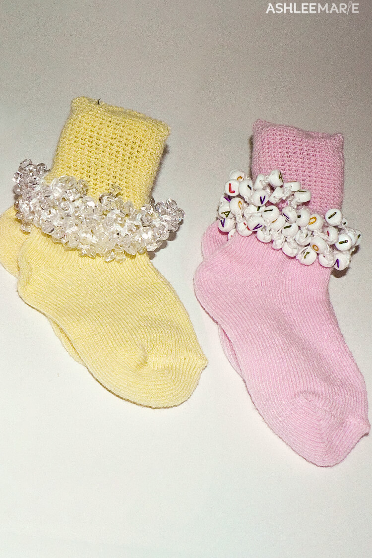 personalized beaded crochet socks