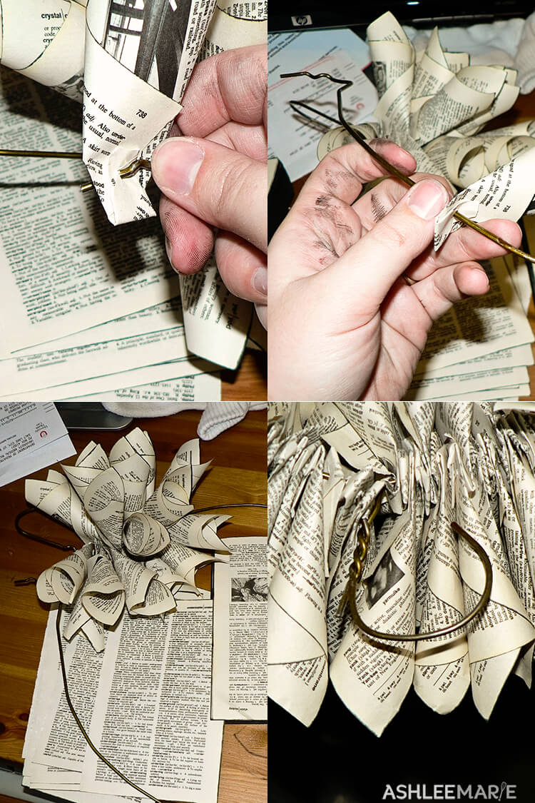 rolled book pages wreath