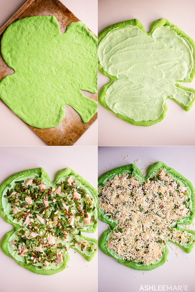 st patricks day dinner - green shamrock pizza - video tutorial