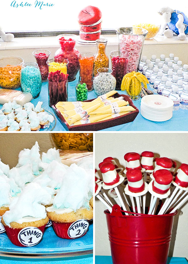 a candy bar in bright colors that match dr seuss colors, thing 1 thing 2 cupcakes and cat in the hat pops