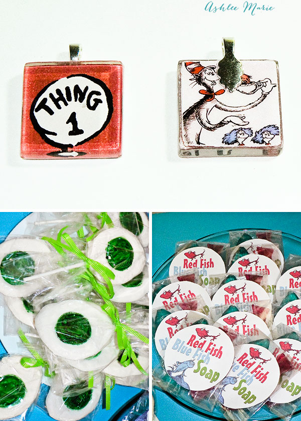 party favors for a dr seuss party, green eggs suckers, red fish blue fish soap and thing 1 thing 2 necklaces