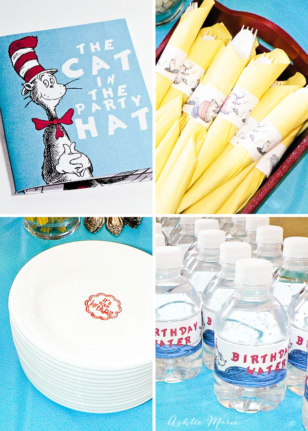 add little touches to your party, personalized invitation booklets, utencil wraps, water bottle wraps and edible plate stamps
