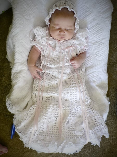 white-thread-crochet-dress-hat-pink-ribbon-baby-blessing