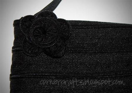 zipper purse sewing flower