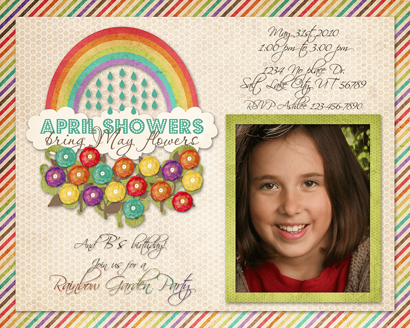 rainbow garden party invitation