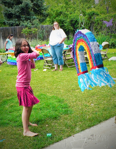 rainbow garden birthday party pinata