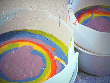 rainbow garden birthday party cake in the pan