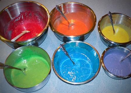 rainbow garden birthday party cake batter food dye