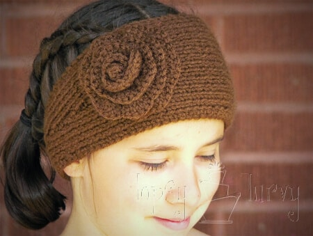 Knitting Pattern For A Headband With Flower : Knit Ear Warmer Pattern with Flower Crochet Ashlee Marie