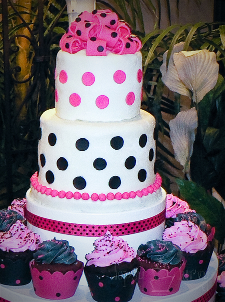 wedding cake polka dots topping cupcake tower