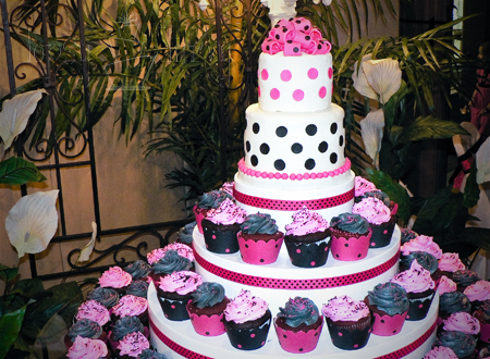 small wedding cake polka dot cupcake tower