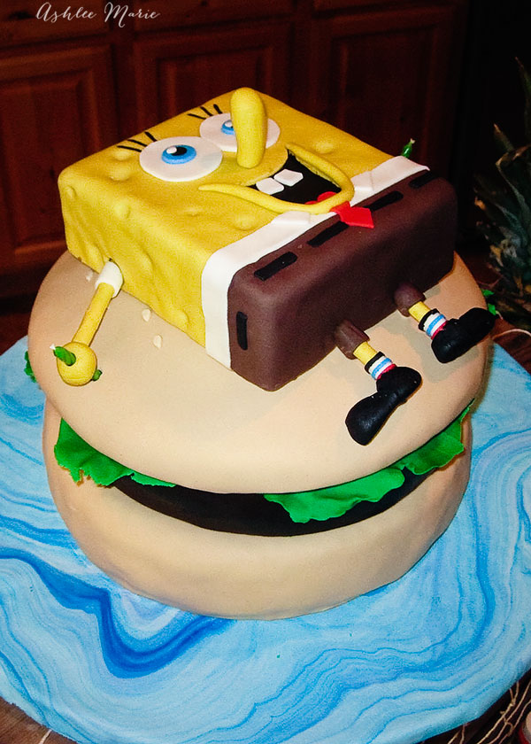 SpongeBob and Krusty burger carved birthday cake