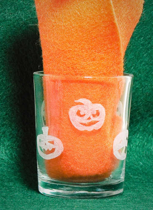 etching glass votives with dremel pumpkins