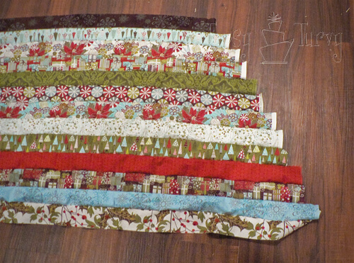 sewing jelly roll together ruffled tree skirt