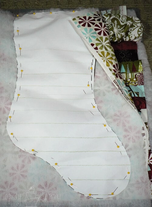 cutting stocking shape top back batting