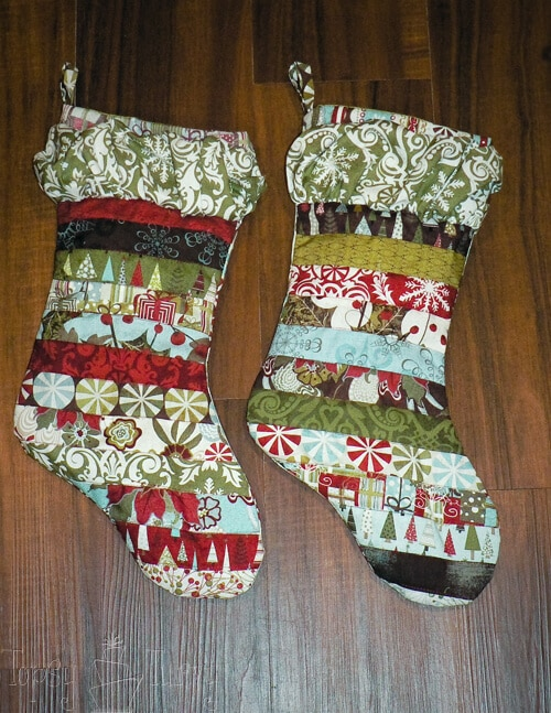 finished quilted ruffled stocking