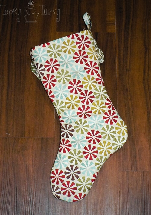 quilted ruffled stocking back