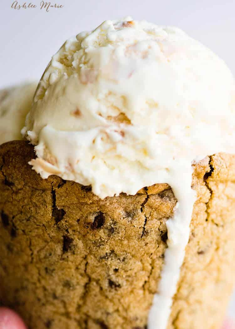 easy and delicious chocolate chip cookie ice cream cone recipe, huge hit at every party