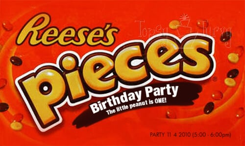 reeses pieces birthday party invitation