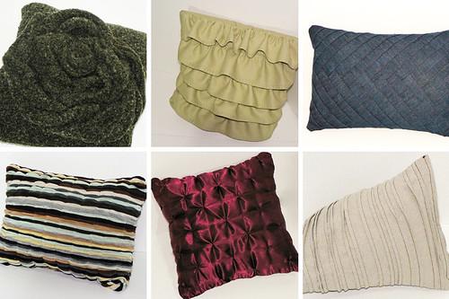thrift store refasion pillows rosette ruffles pintuck sewing