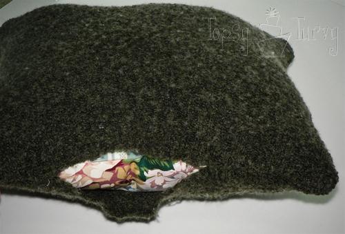 rosette sweater pillow