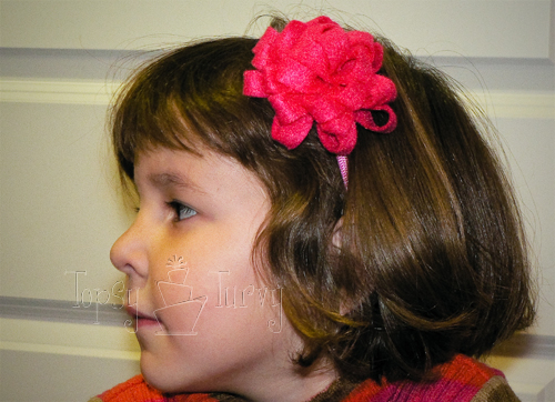 small felt pom pom flower headband