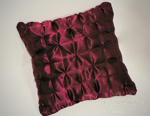 satin pin-tuck pillow finished