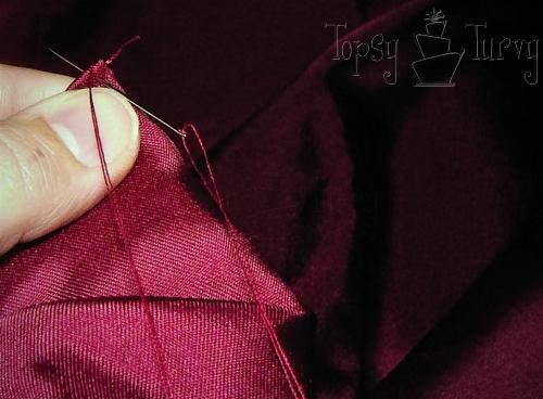satin pin-tuck pillow folding sewing