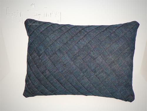 denim herringbone pillow finished