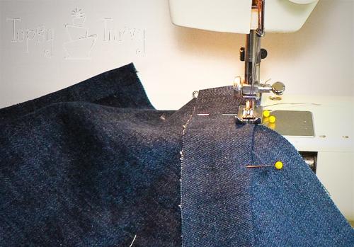 denim herringbone pillow sewing double needles