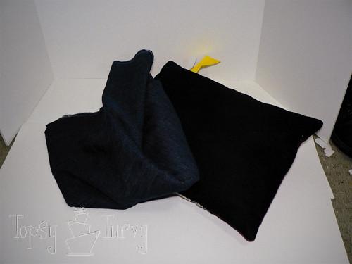 denim herringbone pillow