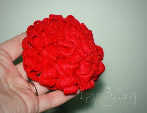 felt ribbon pom pom flower medium front
