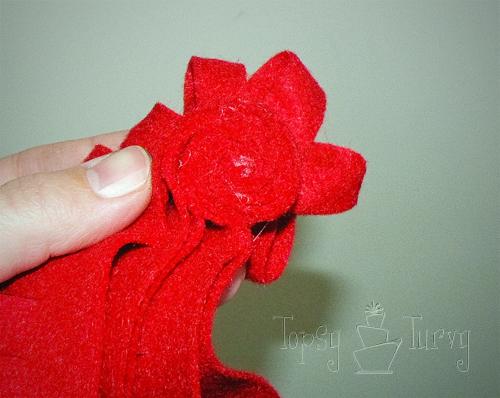 felt ribbon pom pom flower rolling
