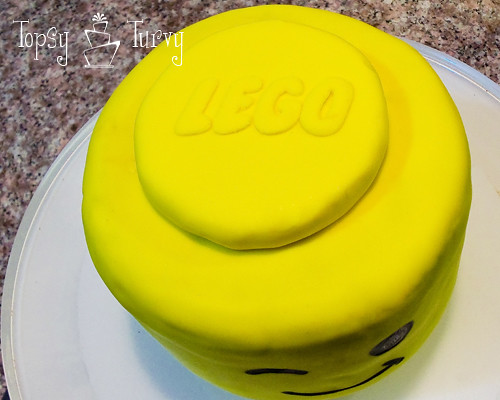 fondant lego decal on lego head cake