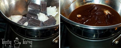 chocolate curl wedding cake melting