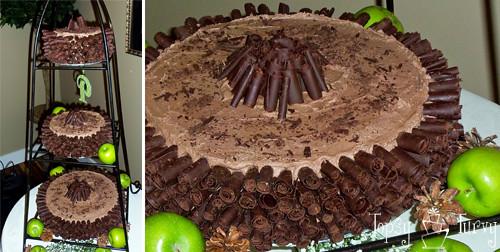 chocolate curl wedding cake finished