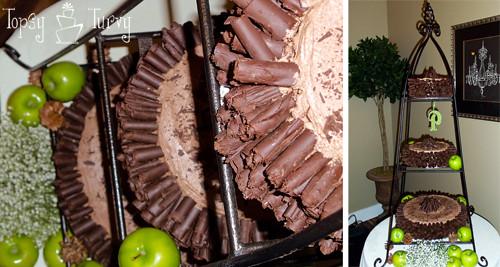chocolate curl wedding cake done